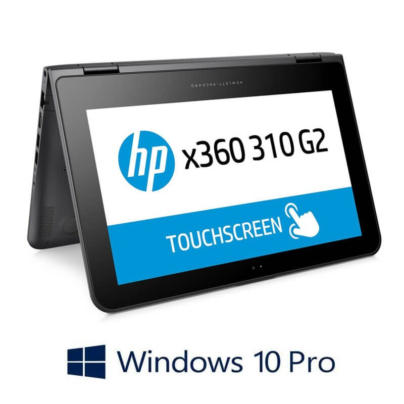 Laptopuri Touchscreen HP x360 310 G2, Quad Core N3700, SSD, IPS, Webcam, Win 10 Pro